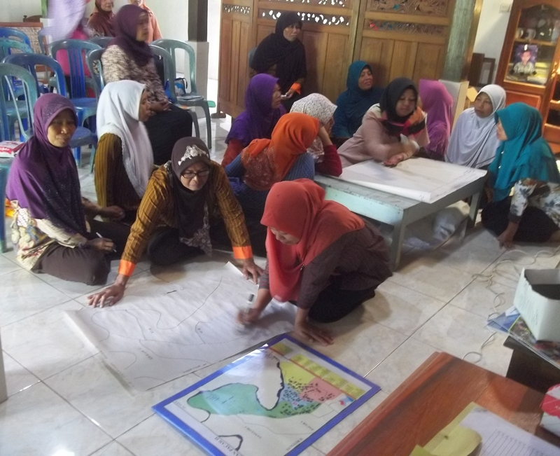 women farmer group make risk mapping in Gunungkidul